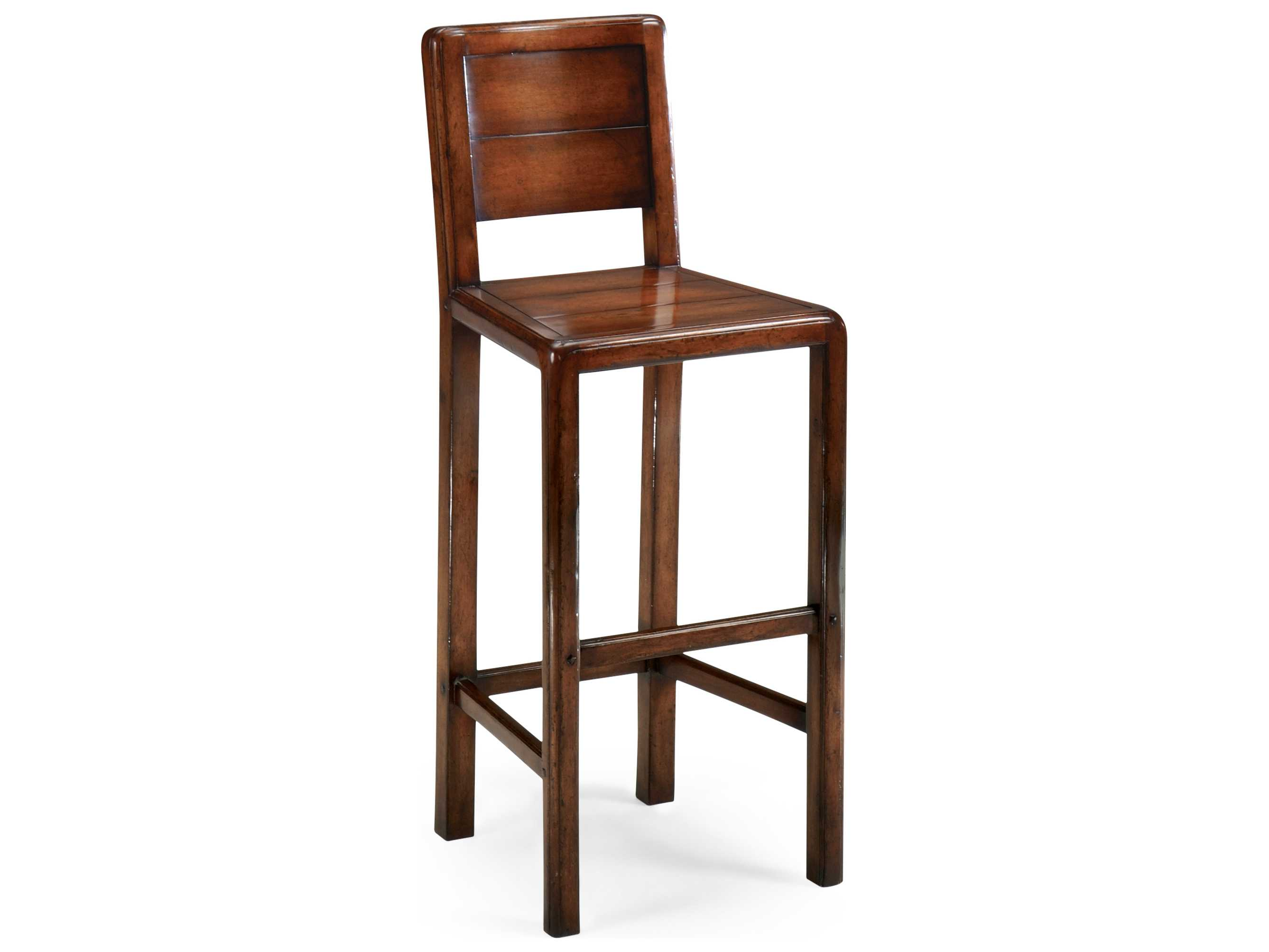 Jonathan Charles Country Farmhouse Medium Walnut Country Distressed Bar Stool
