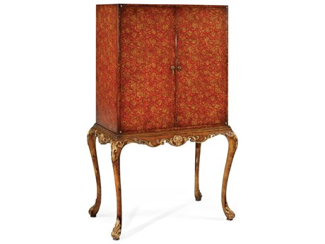 Jonathan Charles Hampton Medium Painted Red Floral & Walnut Bar Cabinet