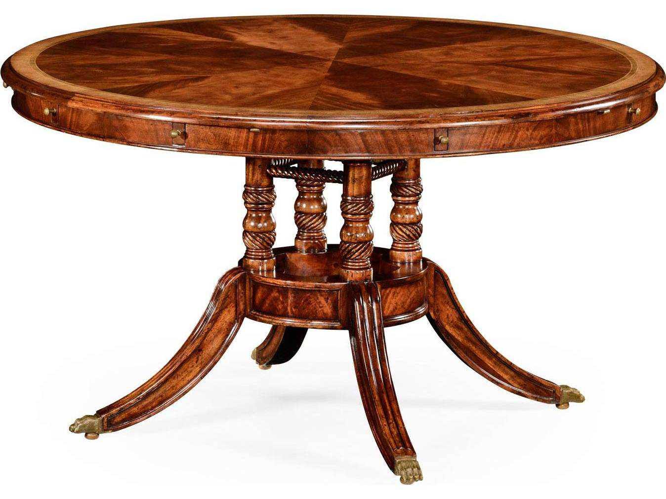 jonathan charles buckingham medium antique mahogany and satinwood 53 39 39 round to oval dining. Black Bedroom Furniture Sets. Home Design Ideas