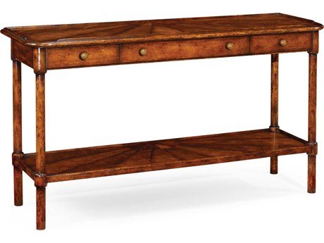 Jonathan Charles Country Farmhouse Medium Walnut Country Distressed 56 x 18 Rectangular Console Table