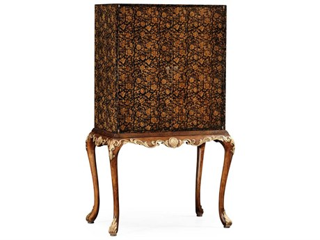 Jonathan Charles Hampton collection Painted Black Floral & Walnut Medium Cabinet Bar