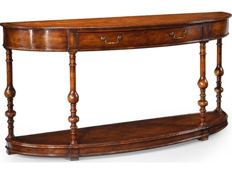 Jonathan Charles Country Farmhouse Medium Walnut 72.75 x 19 Demilune Console Table