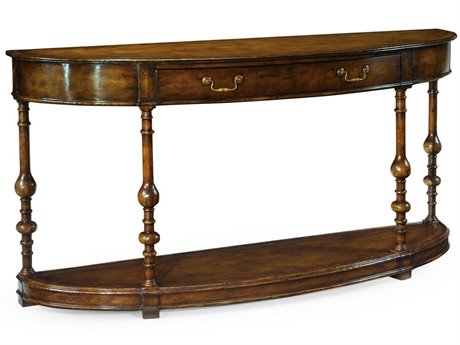 Jonathan Charles Country Farmhouse Medium Walnut 72.75 x 19 Demilune Console Table JC492891WAL