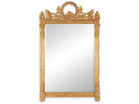 Jonathan Charles Versailles 33 x 54 Light Antique Gold-Leaf With Carved Floral Detail Wall Mirror