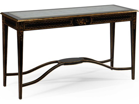 Jonathan Charles Kensington Painted Formal Black & Gold 56.75 x 19 Rectangular Console Table