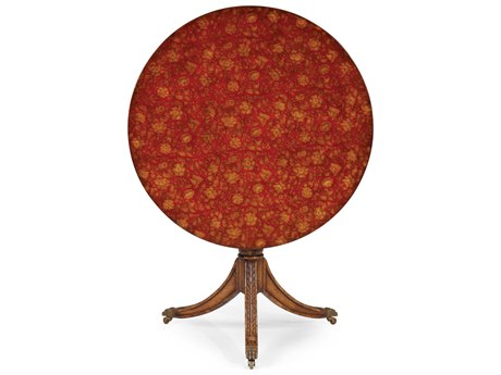 Jonathan Charles Hampton Painted Red Floral 34.75 Round Pedestal Table