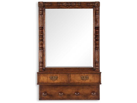 Jonathan Charles Country Farmhouse 29 x 45 Medium Walnut Dresser Mirror