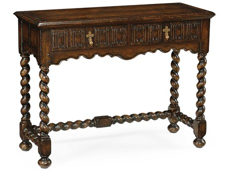 Jonathan Charles Tudor Oak Medium Burr Walnut 42 x 17 Rectangular Console Table