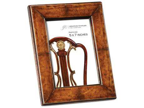 Jonathan Charles Windsor Medium Antique Chestnut Leather Picture Frame