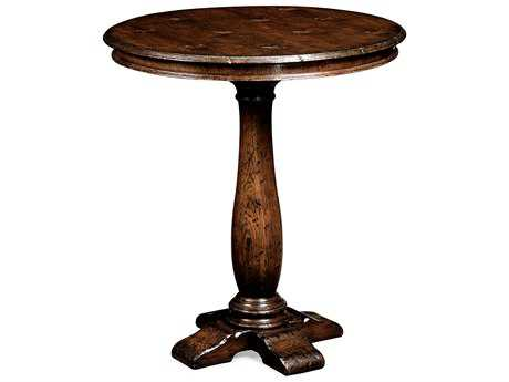 Jonathan Charles Tudor Oak Light Antique Gold-Leaf 36 Round Bar Table