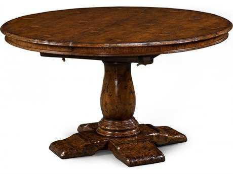 Jonathan Charles Tudor Oak Dark Brown Tudor Oak 48'' Round Extending Country Dining Table
