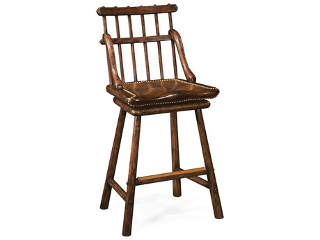 Jonathan Charles Tudor Oak Dark Brown Bar Stool