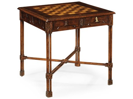 Jonathan Charles Tribeca Dark American Crotch Walnut 28 Square Game Table