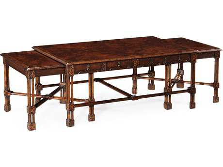 Jonathan Charles Tribeca Dark American Crotch Walnut 52.5 x 30 Rectangular Nesting Table