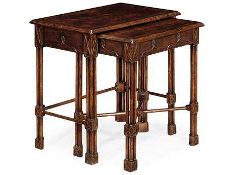 Jonathan Charles Tribeca Dark American Crotch Walnut 25.5 x 16 Rectangular Nesting Table