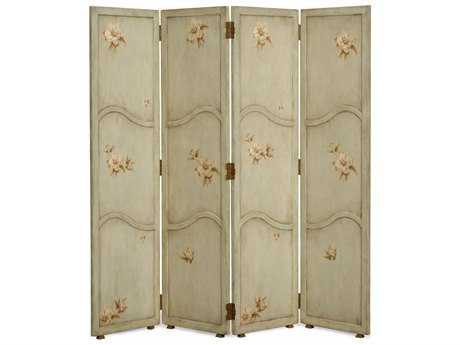 Jonathan Charles Country Farmhouse Painted Antique Olive Floral Four Panel Room Divider