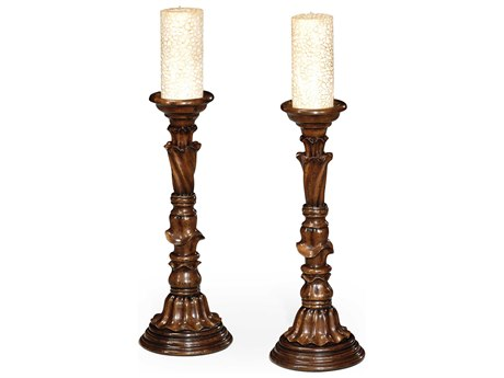 Jonathan Charles Country Farmhouse Medium Walnut Candle Holder