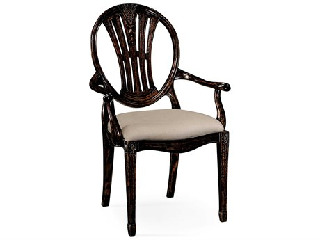 Jonathan Charles Country Farmhouse Painted Honey Black Distressed Accent Chair