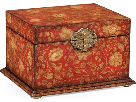 Jonathan Charles Hampton Painted Red Floral Jewelry Box