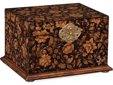 Jonathan Charles Hampton Painted Black Floral Jewelry Box