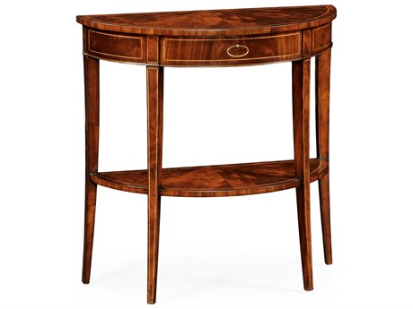 Jonathan Charles Luxe Light Antique Mahogany 32 x 14 Demilune Console Table