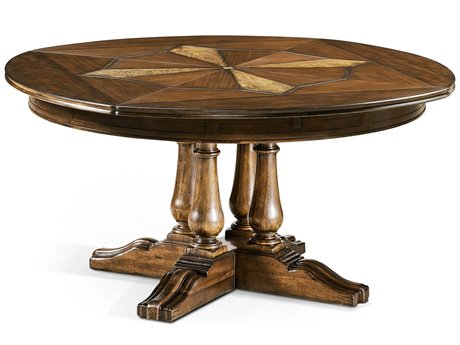 Jonathan Charles Country Farmhouse Medium Walnut 59'' Round Extending Dining Table