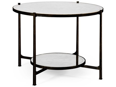 Jonathan Charles Luxe Antique Bronze Finish On Metal 42.5 Round Foyer Table