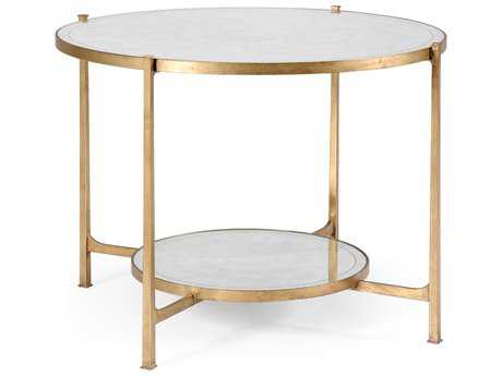 Jonathan Charles Luxe Gilded Iron 42.5 Round Foyer Table