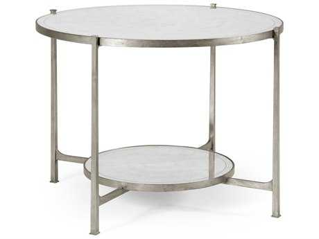 Jonathan Charles Luxe Gilded Antique Silver-Leaf 42.5 Round Foyer Table