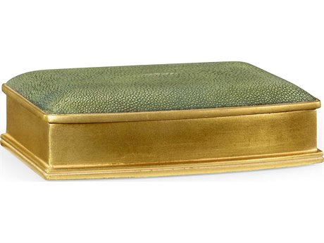 Jonathan Charles Luxe Green Shagreen With Gilded Border Decorate Accent