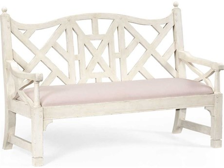 Jonathan Charles Country Farmhouse Painted New Off-White Accent Bench