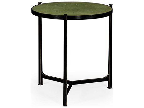 Jonathan Charles Luxe Antique Bronze Finish On Metal 24.75 Round End Table