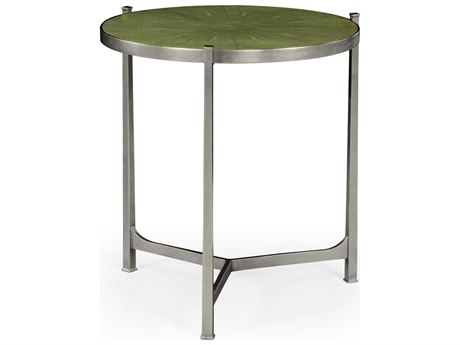 Jonathan Charles Luxe Gilded Antique Silver-Leaf 24.75 Round End Table