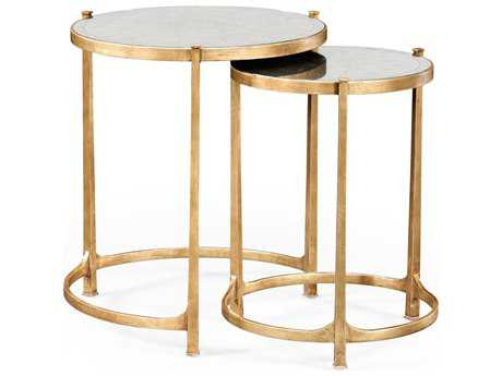 Jonathan Charles Luxe Gilded Iron 25.5 Round Nesting Table