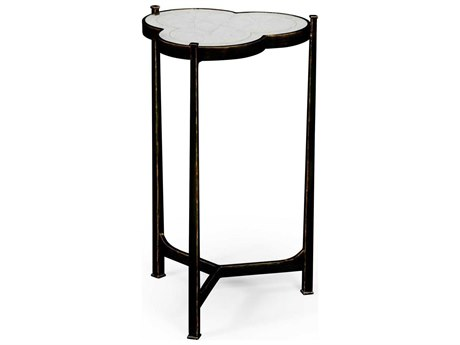 Jonathan Charles Luxe Antique Bronze Finish On Metal 16 x 15.5 trefoil End Table