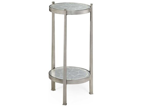 Jonathan Charles Luxe Gilded Antique Silver-Leaf 14 Round End Table