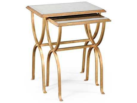 Jonathan Charles Luxe Gilded Iron 24 x 17.5 Rectangular Nesting Table