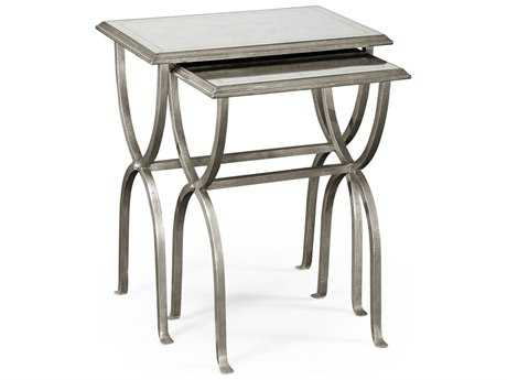 Jonathan Charles Luxe Gilded Antique Silver-Leaf 24 x 17.5 Rectangular Nesting Table