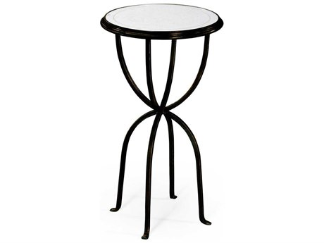 Jonathan Charles Luxe Antique Bronze Finish On Metal 16 Round End Table