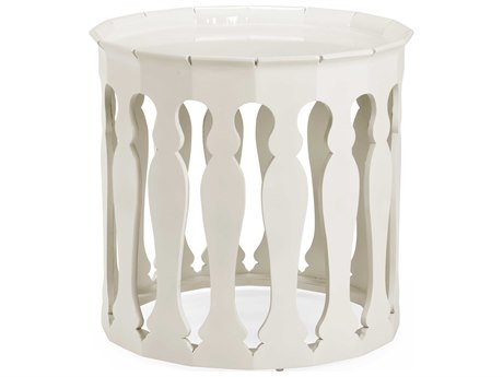Jonathan Charles Moroccan Snow White 24.75 x 24.75 Round Drum Table