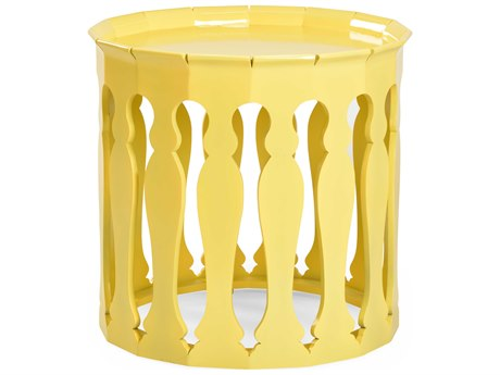 Jonathan Charles Moroccan Yellow Rain Coat 24.75 Round Drum Table
