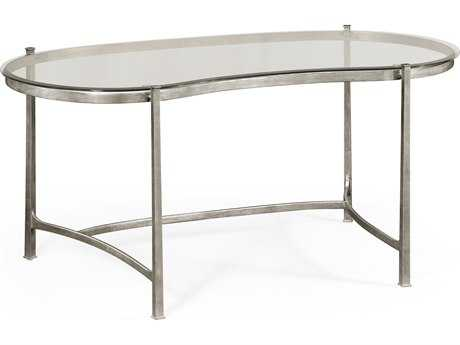 Jonathan Charles Luxe Gilded Antique Silver-Leaf Conference Desk