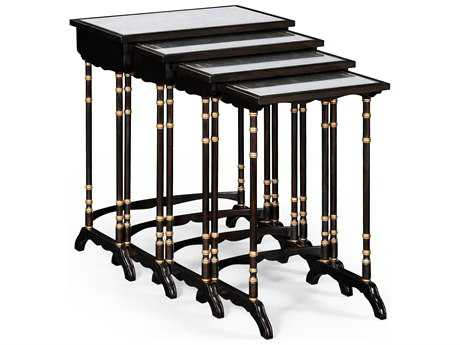Jonathan Charles Kensington Etched On Genuine Silver-Leaf Glass 23.5 x 15 Rectangular Nesting Table