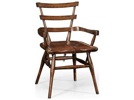 Jonathan Charles Tudor Oak Etched On Genuine Silver-Leaf Glass Dining Chair