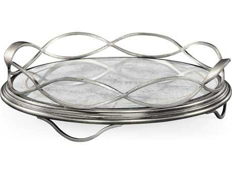 Jonathan Charles Luxe Gilded Antique Silver-Leaf Serving Tray