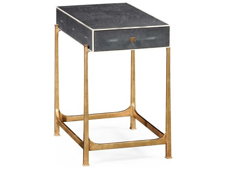 Jonathan Charles Luxe Anthracite Shagreen 16.5 x 26.5 Rectangular End Table
