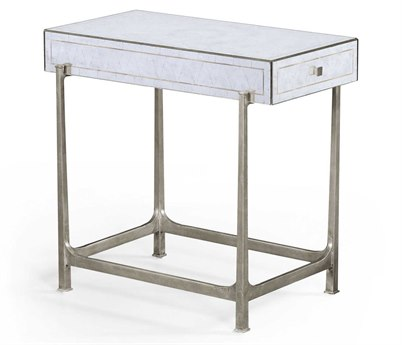 Jonathan Charles Luxe Gilded Antique Silver-Leaf 16.5 x 26.5 Rectangular End Table