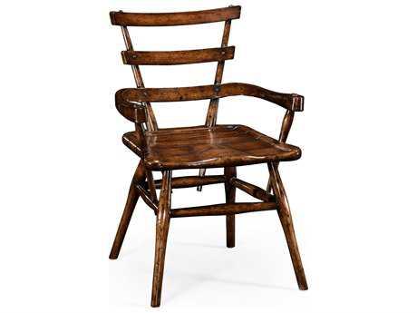 Jonathan Charles Tudor Oak Dark Brown Tudor Oak Dining Arm Chair with Leather Cushion