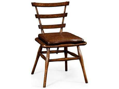 Jonathan Charles Tudor Oak Dark Brown Tudor Oak Dining Side Chair with Leather Cushion