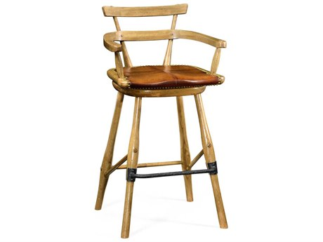 Jonathan Charles Natural Oak Limed Tulip Wood With Carved Floral Detail Bar Stool